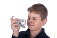 Boy photographs. On a white background Stock Photography