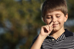 Boy picking nose Royalty Free Stock Images