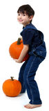 Boy Picking Pumpkins Royalty Free Stock Photo
