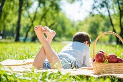 Boy at picnic Stock Image