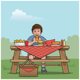 Boy picnic table. Cartoon vector illustration of a boy at a picnic table Stock Images