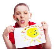 Boy with a picture Stock Photography