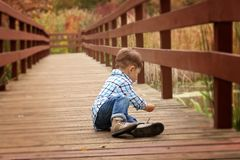 Boy on pier Royalty Free Stock Images