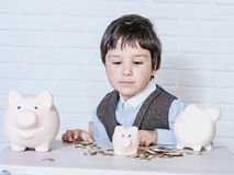 Boy with pig piggy bank Stock Image