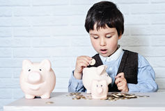 Boy with pig piggy bank Royalty Free Stock Photography