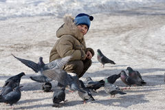 Boy and pigeons Royalty Free Stock Images