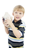 Boy with piggy bank Royalty Free Stock Photos
