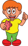 Boy with Piggy Bank Cartoon Character Royalty Free Stock Photography