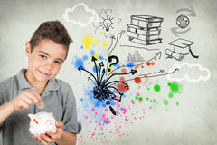 Boy with piggy bank Stock Images