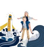 Boy piggybacking sister. Happy boy piggybacking adorable little sister with seaside illustration on background vector illustration