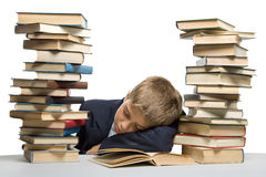 The boy and a pile of books Royalty Free Stock Image