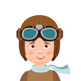 Boy Pilot Hat. Young Boy Pilot In White Background. royalty free illustration