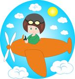 Boy - pilot on plane. Comic cartoon illustration Royalty Free Stock Image
