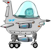 Boy piloting a starship. This illustration depicts a boy in the cockpit of a cartoon starship Stock Photo