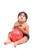 Boy with pink fitness ball on white background Stock Photo