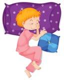 Boy in pink pajamas sleeping on purple pillow. Illustration Stock Image