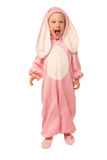 Boy in the pink rabbit costume Stock Image