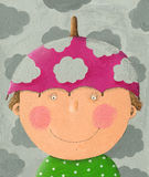 Boy with pink umbrella hat Royalty Free Stock Images
