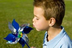 Boy pinwheel Royalty Free Stock Image