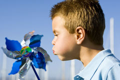 Boy pinwheel Royalty Free Stock Photography