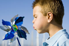 Boy pinwheel Stock Photos