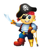 Boy In Pirate Costume. With sword and crutch Royalty Free Stock Images