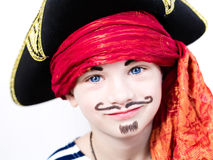 Boy in pirate costume. The boy in pirate costume on his birthday stock images