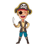 Boy in pirate costume with sword in hand Royalty Free Stock Photo