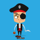 Boy With Pirate Halloween Costume Isolated Royalty Free Stock Images