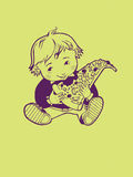 Boy with pizza. Outline illustration of boy eating pizza Royalty Free Stock Images