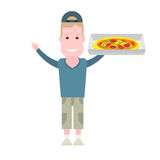 Boy with pizza Stock Images