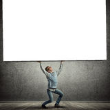 Boy with placard Royalty Free Stock Photo
