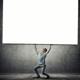 Boy with placard Stock Photo