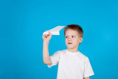 Boy and plane Royalty Free Stock Image