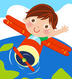 Boy and plane. Illustration of little boy and plane Stock Photography