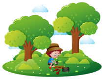Boy planting tree in park. Illustration Stock Image