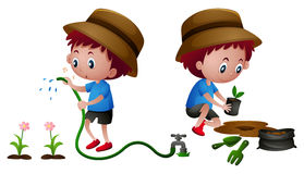 Boy planting and watering plants Royalty Free Stock Photos