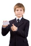 Boy with a plastic card, isolated Royalty Free Stock Image