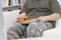 Boy With Plate Of Carrot Sticks Royalty Free Stock Photos