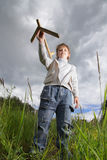 Boy play with airplane Royalty Free Stock Image