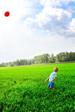 Boy play with ball. Boy play with a ball in the summer field royalty free stock images