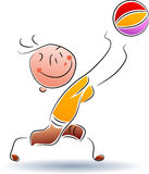 Boy play with ball. Illustrated boy play with ball funny cartoon image royalty free illustration
