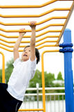 Boy play with bar Royalty Free Stock Image