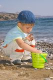Boy play on the beach Royalty Free Stock Photography