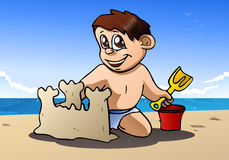 Boy play build sand castle Royalty Free Stock Photography