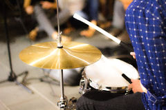 Boy play the drums Royalty Free Stock Image