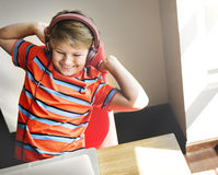 Boy Play Game Laptop Technology Concept Royalty Free Stock Photo