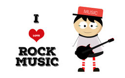 Boy play guitar and love rock music. Boy play guitar and love music funny Stock Images