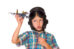 Boy play with jet airplane model Royalty Free Stock Photo