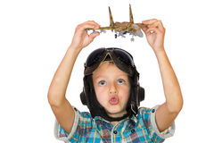Boy play with jet airplane model Royalty Free Stock Photos